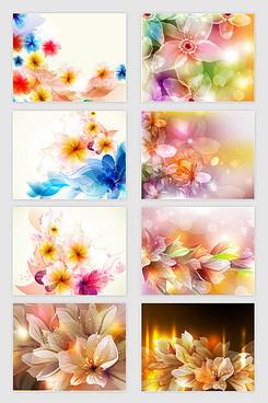矢量梦幻炫丽花卉