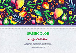 免费矢量水彩芒果和水果卡插图