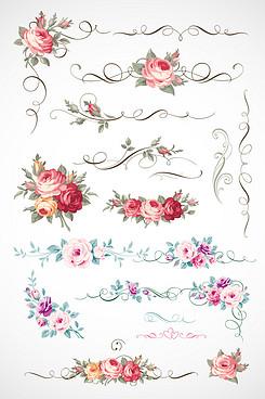 花朵花邊玫瑰花底紋素材