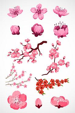 粉色桃花矢量素材