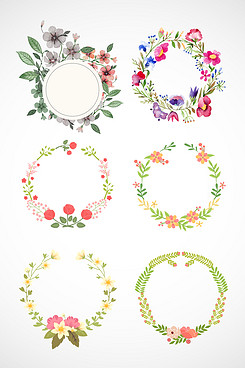 水彩花卉花环素材