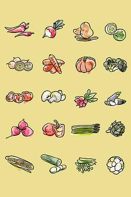 手绘蔬菜图标设计素材
