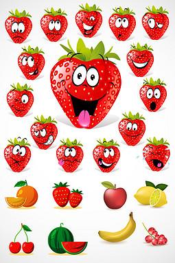 卡通笑脸水果矢量素材