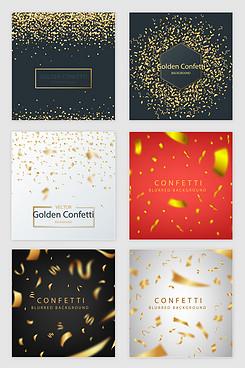 矢量金色漂浮丝带纸屑