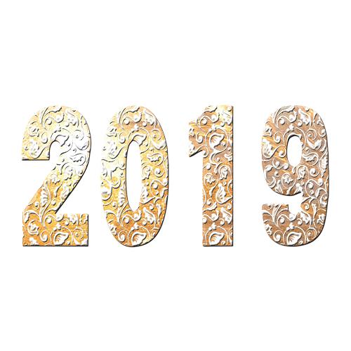 雕漆数字2019艺术字免扣素材图片搜图123下载 金色与白色的结合,浮雕